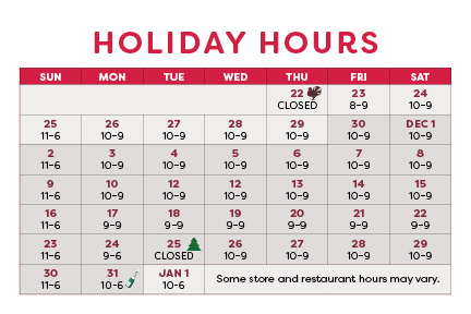 <p>Extended Holiday Shopping Hours</p>